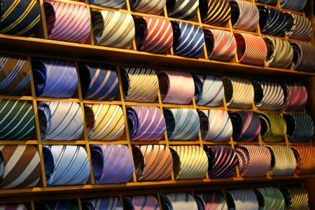 Photo for Fashionable Ties on a shelf in a shop - Royalty Free Image