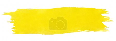 Photo for Yellow stroke of watercolor paint brush isolated on white - Royalty Free Image
