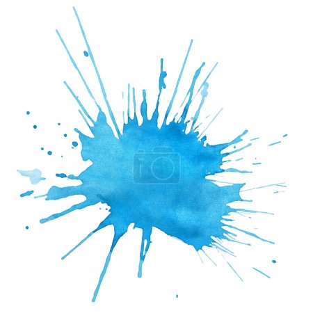 Photo for Blot of blue watercolor isolated on white - Royalty Free Image