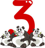 Number three and 3 pandas
