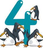Number four and 4 penguins