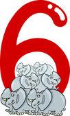Number six and 6 elephants