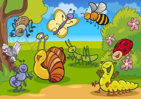 Illustration pour Illustration de dessin animé d'insectes drôles sur la prairie - image libre de droit