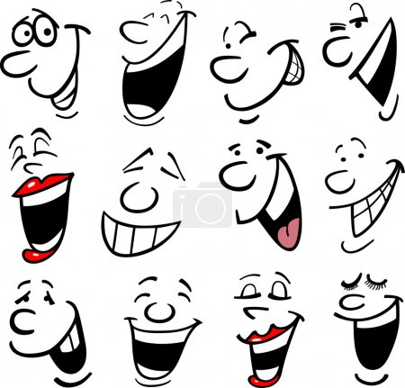 Illustration for Cartoon faces and emotions for humor or comics design - Royalty Free Image