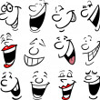 Cartoon faces and emotions for humor or comics des...
