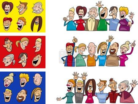 Illustration for Cartoon illustration of happy big set - Royalty Free Image