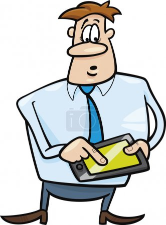 Illustration for Cartoon humorous illustration of businessman with tablet - Royalty Free Image
