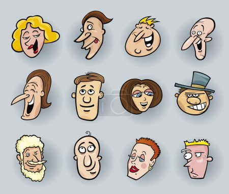 Illustration for Cartoon illustration of funny faces set - Royalty Free Image