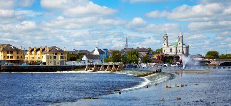 Photo for Panorama of Athlone city and the Shannon river in summer, Co. Westmeath, Ireland. - Royalty Free Image