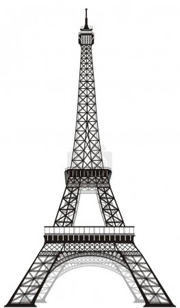 Illustration for Silhouette of Eiffel tower in Paris, isolated o whi - Royalty Free Image