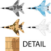 High detailed vector illustration of a modern military airplane top view with three camouflage patterns