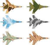 High detailed vector illustration of a modern military airplane top view with six camouflage patterns