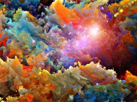 Photo pour Turbulent peinture numérique sur fractal toile approprié comme toile de fond pour les projets sur le rêve, la fantaisie, la spiritualité et l'art abstrait - image libre de droit