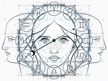 Photo for Interplay of Zodiac symbols, outlines of human heads, directional arrow and abstract design elements on the subject of astrology, fortune telling, horoscopes, destiny and personal relationships - Royalty Free Image