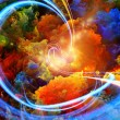 Abstract landscape of colorful fractal foam, light...