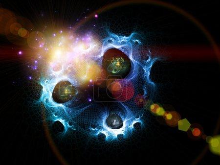 Foto de Interacción de fractal de mallas, colores, fórmulas cuántica y las luces sobre el tema de la física cuántica, universo, creación, big bang, ciencia y tecnología - Imagen libre de derechos