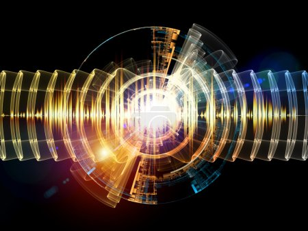 Photo for Sound wave background suitable as a backdrop for music, technology and sound projects - Royalty Free Image