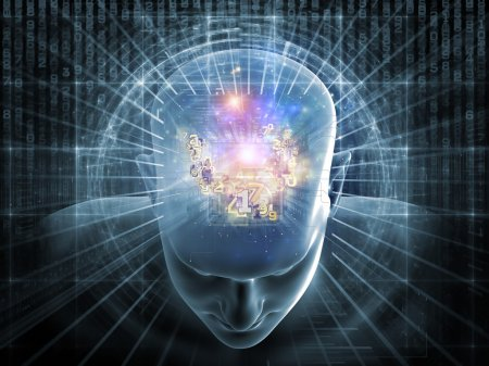Foto de Collage de cabeza humana, dígitos y varios elementos abstractos sobre el tema de la inteligencia artificial, la ciencia moderna, tecnología informática y humanos y Ho - Imagen libre de derechos