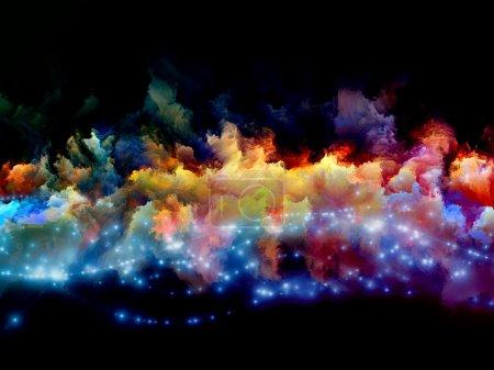 Photo pour Nuages de fractale mousse et abstraits lumières arrangement approprié comme toile de fond dans les projets sur l'art, spiritualité, peinture, musique, effets visuels et des technologies créatives - image libre de droit