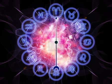 Photo for Artistic background for use with projects on astrology, child birth, fate, destiny, future, prophecy, horoscope and occult beliefs, made of Zodiac symbols, gears, lights and abstract design elements - Royalty Free Image