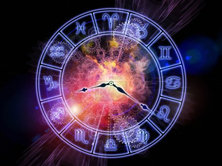 Photo for Composition of Zodiac symbols, gears, lights and abstract design elements on the subject of astrology, child birth, fate, destiny, future, prophecy, horoscope and occult beliefs - Royalty Free Image