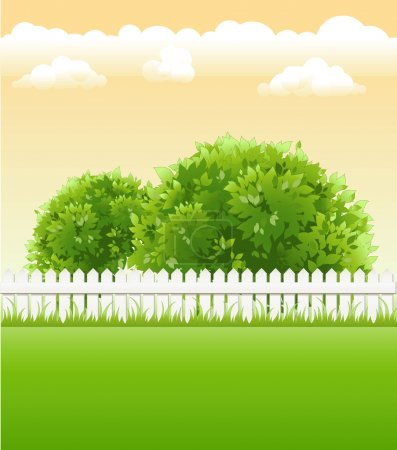 Illustration for Summer garden with tree, flower and light railing - Royalty Free Image