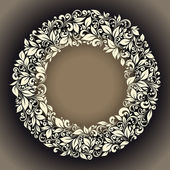 Round frame from floral pattern in vintage style
