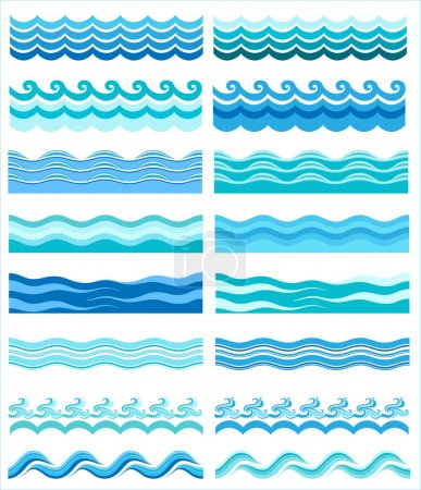 Illustration for Set - seamless sea waves - Royalty Free Image