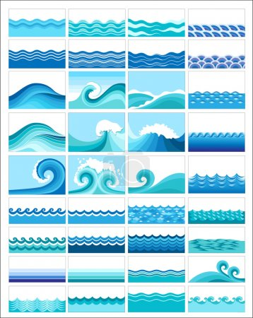Illustration for Set from 50 topics with stylized waves - Royalty Free Image