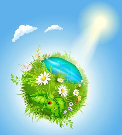 Cartoon blossoming globe