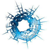 Bullet Hole in glass Vector Illustration