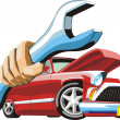 Old cartoon car keep wrench in hand...