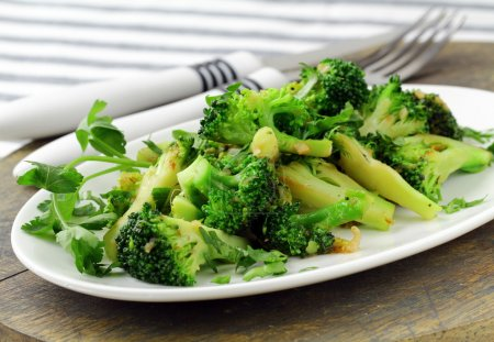 Photo for Salad with broccoli fried with spices - Royalty Free Image