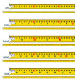 Tape measure in cm cm and inch cm and hand cm and span cm and foot - vector illustration