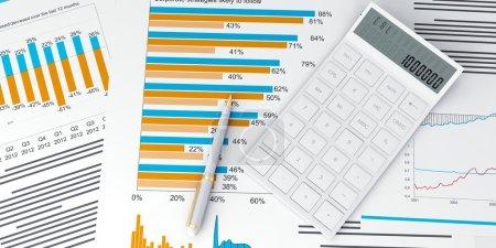 Photo pour Illustration 3D d'une entreprise, rapports de crédit financier et statistiques avec calculatrice et stylo - image libre de droit