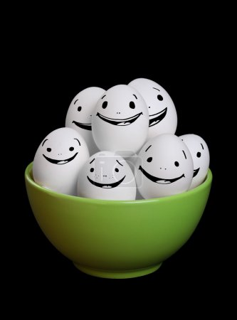 A group of funny and happy egg smiley collection in bowl with bl
