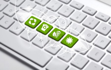 Photo for ECO keyboard, Green recycling concept - Royalty Free Image