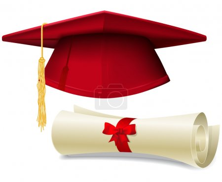 Illustration for Red graduation cap, mortarboard and diploma scroll, made with gradient mesh - Royalty Free Image