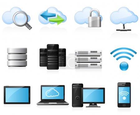Foto de Computación en nube y establece el icono de red de PC - Imagen libre de derechos