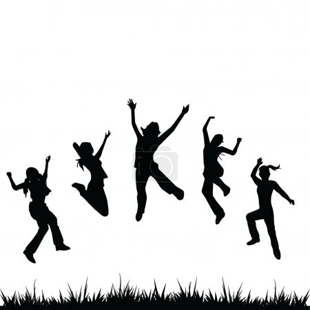 Silhouettes kids jumping