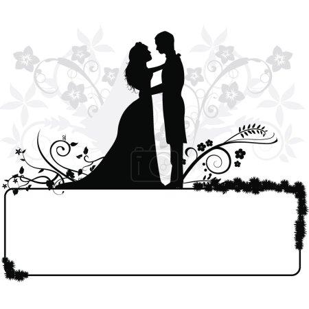 Illustration pour Silhouettes de couple de mariage pour mariage, occasions, célébrations et autres - image libre de droit