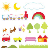 Cartoon items for kids icons fun activity and school