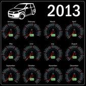 2013 year calendar speedometer car