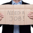 Fired businessman searching for a job isolated on ...