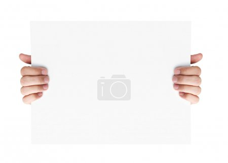 Photo for Human hands holding blank advertising card isolated on white background - Royalty Free Image