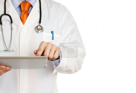 Doctor working on a digital tablet isolated on white background