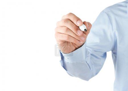 Photo pour Écriture humaine à la main au tableau blanc transparent vierge avec espace de copie - image libre de droit