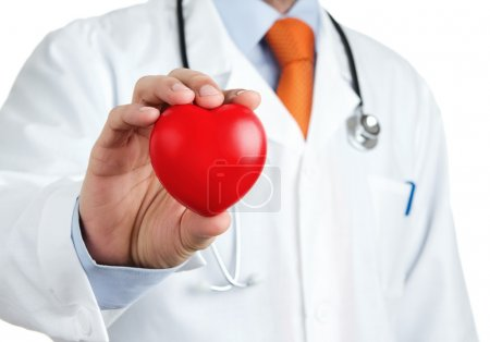 Red rubber heart in doctors hand