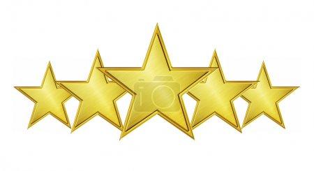 Photo pour Cinq étoiles d'or isolées sur fond blanc - image libre de droit