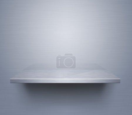 Brushed metal shelf